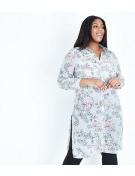 Curves Grey Floral Extra Longline Chiffon Shirt by New Look