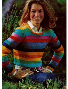 Rainbow Striped Pullover Sweater Vintage Knitting Pattern Download by Etsy