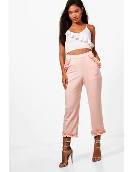 ruby-micro-ruffle-detail-trousers by boohoo