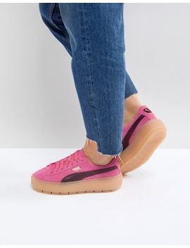 Puma Trace Platform Sneakers In Pink And Black by Puma