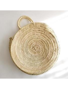 Handmade Round Straw Bag    Round Basket, Summer Tote, Round French Market Basket Bag, Round Beach Basket, Straw Beach Bag, Straw Basket by Etsy