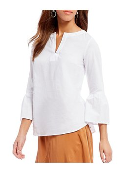 Cremieux Jo Jo Bell Sleeve Novelty Shirting Blouse by Cremieux
