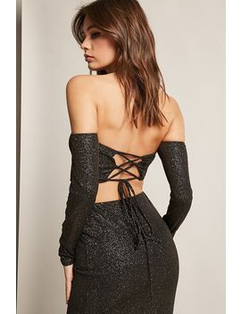 Metallic Lace Up Crop Top & Pencil Skirt Set by Forever 21