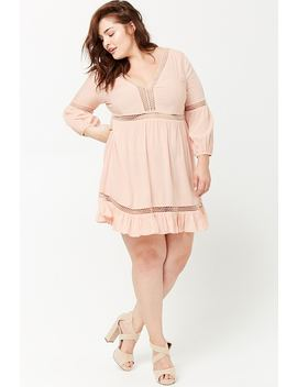 Plus Size Crochet Lace Peasant Dress by Forever 21