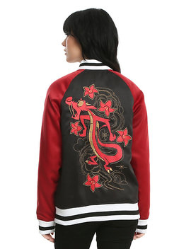 Disney Mulan Mushu Black & Red Girls Satin Souvenir Jacket by Hot Topic