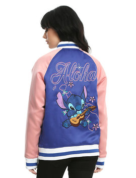 Disney Lilo &Amp; Stitch Blue &Amp; Pink Girls Satin Souvenir Jacket by Hot Topic