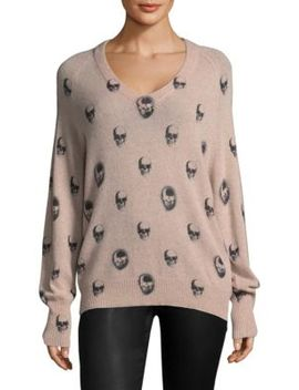 Riley V Neck Skull Cashmere Sweater by 360 Cashmere