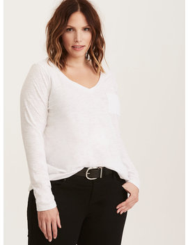 Premium White V Neck Long Sleeve Tee by Torrid