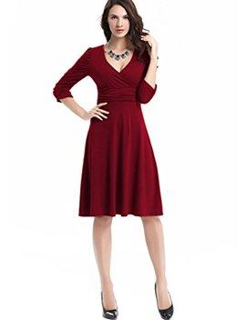 Fairy Mei Women's V Neck 3/4 Sleeve Casual Plain Simple Flare Midi Dress by Fairy Mei