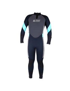 Leader Accessories Men's 5mm Black/Aqua Blue/Gray Wetsuit For Scuba Diving Fullsuit Jumpsuit by Leader Accessories