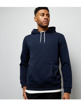 Navy Pocket Front Hoodie by New Look