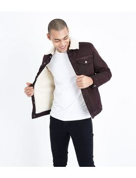 Burgundy Borg Lined Denim Jacket by New Look