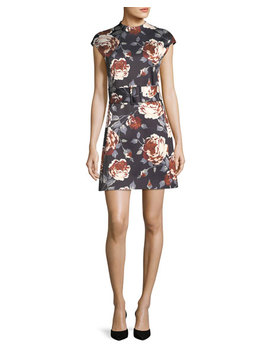Mock Neck Belted Floral Print Satin Dress by Theory