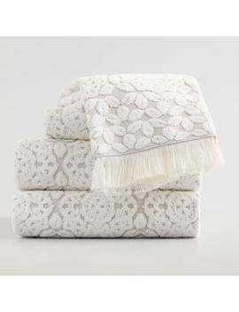 Gray And Ivory Medallion Rosalind Sculpted Towel Collection by World Market