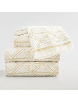 Ivory And Golden Green Geo Floral Iberia Towel Collection by World Market