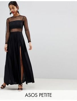 Asos Petite Pleated Dobby & Lace Top Long Sleeve Maxi Dress by Asos Petite