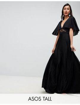 Asos Tall Cape Pleated Lace Insert Maxi Dress by Asos Tall
