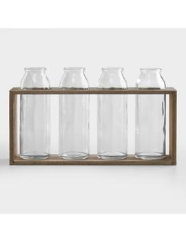 "6"" Bottle Vases With Wood Holder, Set Of 4 by World Market"