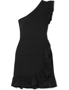 Yass One Shoulder Ruffled Twill Mini Dress by J.Crew
