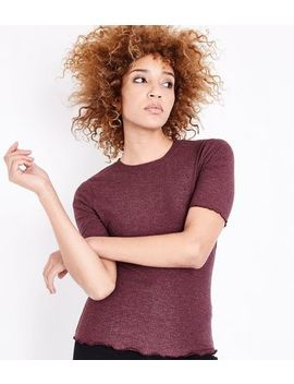 Burgundy Ribbed Half Sleeve T Shirt by New Look