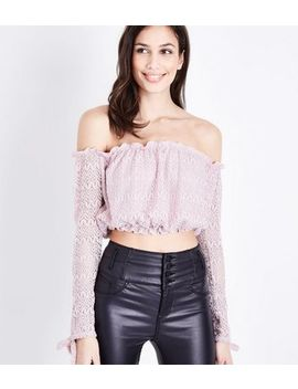 Pink Lace Knit Bardot Crop Top by New Look