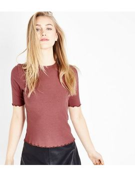 Deep Pink Ribbed Half Sleeve T Shirt by New Look