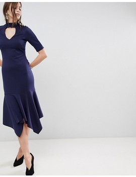 Asos Midi Dress With Pep Hem And Collar by Asos Collection