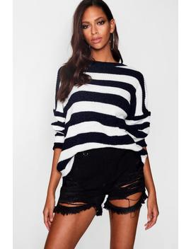 ronnie-chenille-mix-stripe-jumper by boohoo