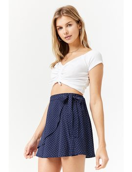 Polka Dot Wrap Mini Skirt by Forever 21