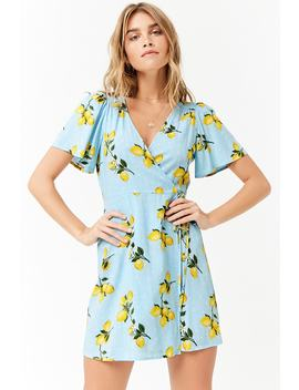 Lemon Print Mini Wrap Dress by Forever 21