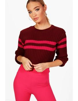 Sophie Sports Stripe Rib Knit Jumper by Boohoo