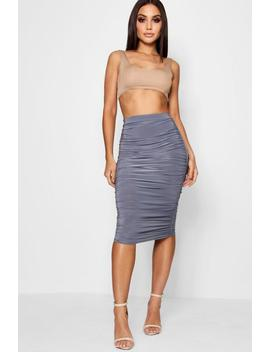 helena-all-over-ruched-midi-skirt by boohoo