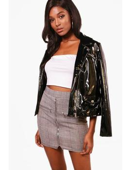 Isla Mono Check Zip Detail Mini Skirt by Boohoo