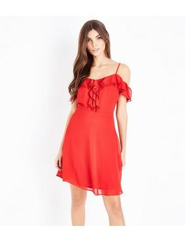 Red Frill Trim Chiffon Skater Dress by New Look