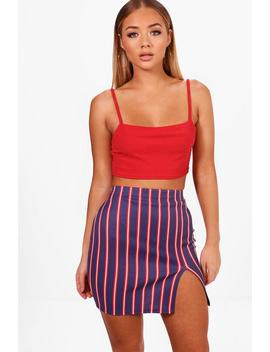 Ceris Thigh Split Stripe Mini Skirt by Boohoo