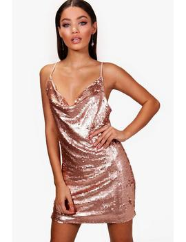 Holly Sequin Neck Slip Dress by Boohoo