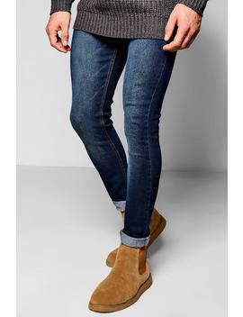 Dark Washed Indigo Super Skinny Fit Jeans by Boohoo