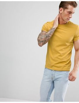 Asos Design Muscle Fit T Shirt With Roll Sleeve In Yellow by Asos