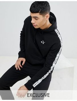 Puma Pullover Hoodie With Sleeve Taping In Black Exclusive To Asos by Puma