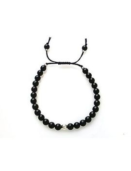 Black Onyx 925 Sterling Silver 6mm Bead Mala Macrame Bracelet by Assortis