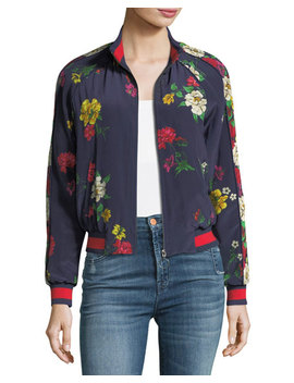 Avariella Floral Print Silk Bomber Jacket by Neiman Marcus