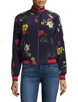 Avariella Botanical Silk Track Jacket by Joie