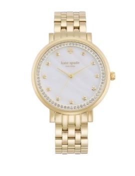 Monterey Pavé Mother Of Pearl & Goldtone Stainless Steel Bracelet Watch by Kate Spade New York