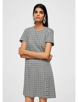 Buttoned Check Dress by Mango