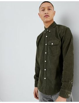 Abercrombie & Fitch Buttondown Fine Cord Shirt Regular Fit In Olive by Abercrombie & Fitch