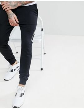 Asos Skinny Joggers With Ma1 Pocket In Black by Asos