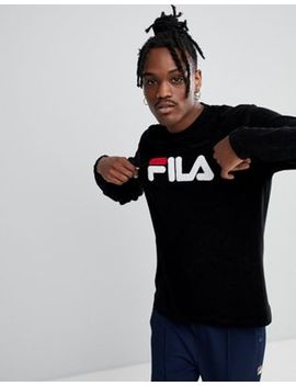 Fila Black Line Terry Towelling Sweatshirt With Logo In Black by Fila