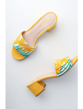 Jax Yellow Multi Print Mules by Lulus