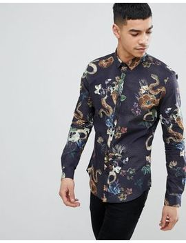 River Island Shirt With Snake Print In Black by River Island