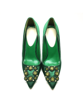 2017 Green High Heels Shoes Crystal Wedding Shoes For Women Heel Shoes Woman High Heels Luxury Designer Shoes Pumps  by Shop2846001 Store